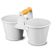 Double Bucket Condiment Caddy - White Galvanised Steel Cutlery Table Tidy And