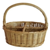 4 Section Oval Willow Wicker Cutlery Divided Basket Length 26cm X Width 20cm X