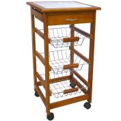3 4 Tier Kitchen Trolley Brown Cart Basket Storage Drawer Tile Top Portable