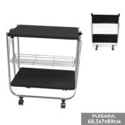 Kitchen Trolley Cart With Shelves & Drawer Folding Black 26,77x15,75x27