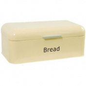 Bread Bin Curved Cream Steel Kitchen Top Storage Roll Loaf Container Box