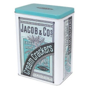 Jacob & Cos Extra Light Cream Crackers Large Hinged Storage Tin Canister Kitchen