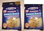 2 X 70 Sealapack Resealable Food Snack Bags - Lunchboxes Picnics School