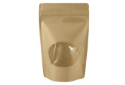 50pcs Kraft Paper Flat Base Hermetic Bag, Stand-up Pouches Zip Lock Packaging X