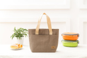 Vinsani Insulated Tote Canvas Thermal Lunch Bag - Beige