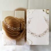 Aukmla Hair Vine Wedding Headbands Bridal Beauty Charming Crystal Hair Accessories for Bridesmaid and Flowergirls