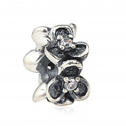 Charm Bead Spacer 925 Sterling Silver Clear Crystal Fits Pandora Charm Bracelet
