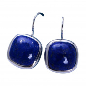 Jade Angel 925 Sterling Silver Square Natural Lapis Lazuli Dorp Earrings
