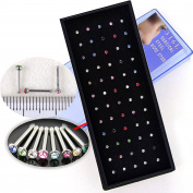 Ardisle 60pc Surgical Steel Small Thin Gem Crystal Screw Nose Stud Ring Bar Piercing