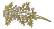 Pick A Gem Hair Accessories / Powdered Gold Diamante and Pearl Flower Cluster Headband Side Tiara Wedding Hair Accessories