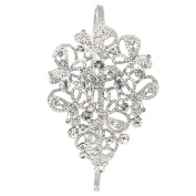 Gemini London Jewellery's Crystal Swirl Bow Hair Band with Crystals, Nickel Free, Rhodium Plated, Silver Effect Finish