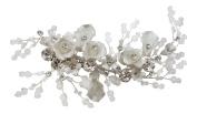 Pick A Gem Wedding Hair Accessories Hand Made Silver Crystal and Beaded Flower Hair Clip Beak Clip