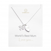 "Symbology ""World Best Mum"" Necklace with tree of life pendant with World's Best Mum tag necklace.702"