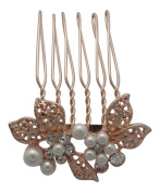 Pick A Gem Small Rose Gold Diamante and Pearl Set Flower Hair Comb / Bridal Hair Accessories