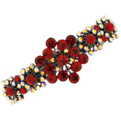 Light Siam Red Crystal Floral Hair Barrette Clip