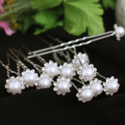 BigTree 20pcs Pearl Flower Diamante Crystal Hair Pins Clips Prom Wedding Bridal Party