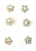 Six 6 Silver Colour Crystal Diamante Flower Swirl Hair Pins Set Twists Coils Spirals Wedding Bridal Hair Accessories Jewellery