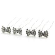 Bridal Hair Accessories Silver & Crystal Bow Hair Pins