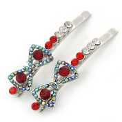 Pair Of Red/ AB Crystal 'Bow' Hair Slides In Rhodium Plating - 60mm Length