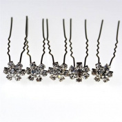 Jewellery of Lords Twenty Flower Hairpin Clear Crystals around Large Solitare in Metal Setting Hair Pin