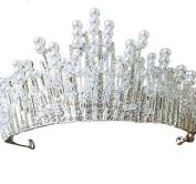 Ice Grey New Ladies Bridal Crystal Headband Tiara Crown Pageant Princess Tiara Crown Rhinestone Pearl Hair Wedding Sider