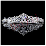 Herzii 2.5cm AAA Marquise Clear Marquise Cubic Zircon Royal Crown Classic Simulated Pearls Floral Wedding Bridal Pageant CZ Headpiece