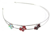 Silver Tone Red Butterfly Stone Headband Hair Alice Band Tiara Wedding Bridal Accessories