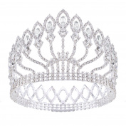 HerZii Wedding Bridal Crystal Tiara Crowns Princess Queen Pageant Prom Rhinestone Silver Tiara Headband Wedding Hair Accessories