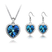 'Bungsa® Crystal Heart Jewellery Set Silver Brass – Matching Earrings And Heart Shaped Necklace – Turquoise Crystal & Clear Crystal – for Ladies, Girls & Women