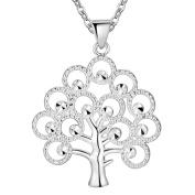 IzuBizu London Tree of Life Pendant Silver Plated Bohemia Style Elegant White Crystal Necklace - Free Gift Box