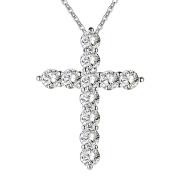 IzuBizu London White Cystal Cross Pendant Silver Plated Elegant Diamond Necklace - Free Gift Box