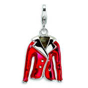 Sterling Silver 3-D Enamelled Red Jacket With Lobster Clasp Charm - Measures 31x16mm