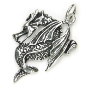 Dragon Pendant Jewellery 925 Sterling Silver, Pendant with Eyelet