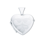 925 Sterling Silver Small Engraved Spring Plant Heart Shaped Locket Pendant