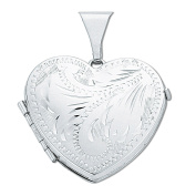 925 Sterling Silver Engraved Heart Shaped Family Locket Pendant