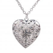 Warm Silver Plated Photo Locket Pendant Chain Necklace