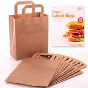 10 X Brown Paper Lunch Bag Sack Flat Bottom Snack Holders + Carry Handle 18cm x 23cm