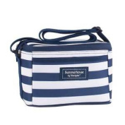 Navigate Coast Personal Cool Bag Navy Blue & White Stripe Lunch Tote Picnic