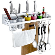 Alumimum Kitchen Hanging Organiser Pot Cutlery Holder Rack Storage Wall Mounted