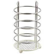 Chrome Wire Silicon Dipped Kitchen Utensil Holder Cream Cutlery Rack Organiser