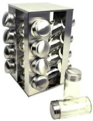 Stainless Steel 16 Jar Revolving Spice Rack Stand Carousel Rotating Glass New