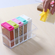 6pcs/set Shaker Seasoning Bottle Jar Condiment Storage Container With Tray For