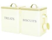 Cream Vintage Enamel Treat Biscuit Cookie Storage Box Tin Container With Scoop
