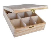 Plain Wood - Wooden Box Tea Bag Chest 9 Compartment - Decoupage