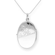 Large Sterling Silver Engravable Oval Locket on Chain 16 - 60cm