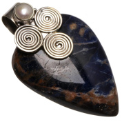 StarGems(tm) Natural Navy Sodalite And River Pearl Handmade Vintage 925 Sterling Silver Pendant 3.8cm