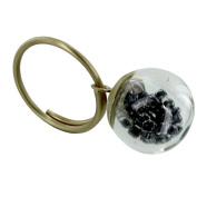 Les Poulettes Jewels - Brass Ring Glass Paste Bubble and Black Pearls