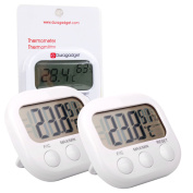Double Pack Of Indoor Thermometers / Temperature Gauges With Digital Display