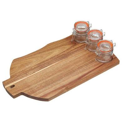 Master Class Artesa Acacia Wood Serving Board With 3 Clip-top Jars