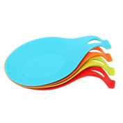 Meeaja 100% Food Grade Kitchen Soup Use Silicone Spoon Rest, Large Soup Spoon Shape Rest, Colourful